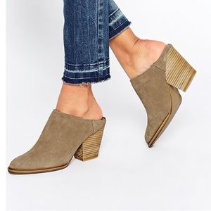 Steve Madden Leather Mertta Tan Mules Booties 9